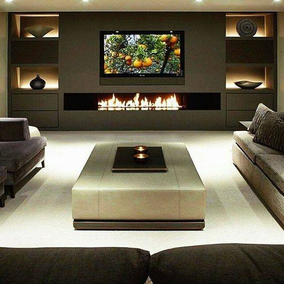 Home Entertainment Spaces: 10 Decorating Ideas For Wall Mounted Fireplace (make Your