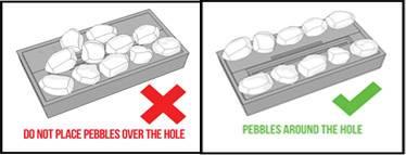 pebbles around hole